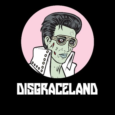 a cartoon image of elvis the pop singer as a zombie. The words 'disgraceland' are below